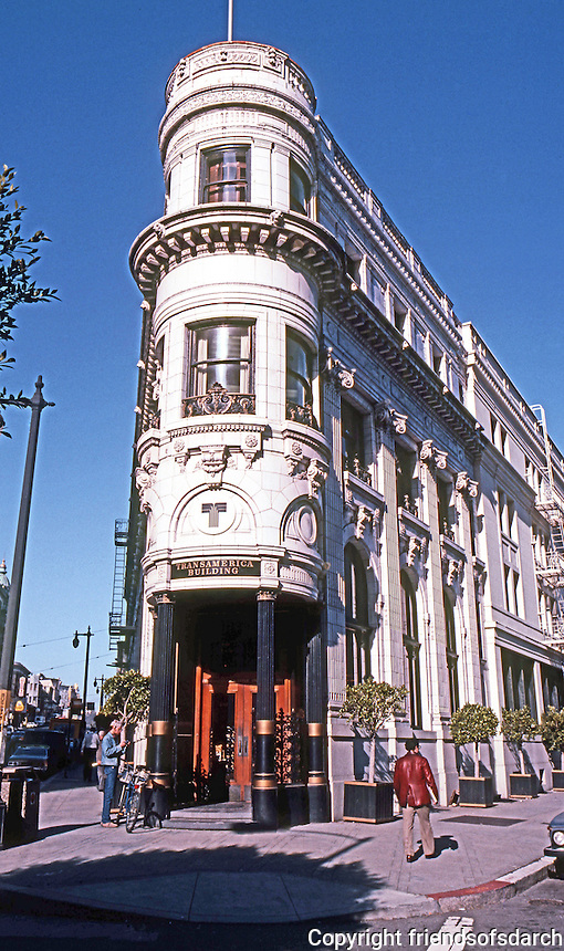 San Francisco:  Transamerica Building, 1911.  4 Columbus Ave. at Montgomery St. (Old Fugazy Building--Field & Kohlberg) White terra cotta.  Photo '83.