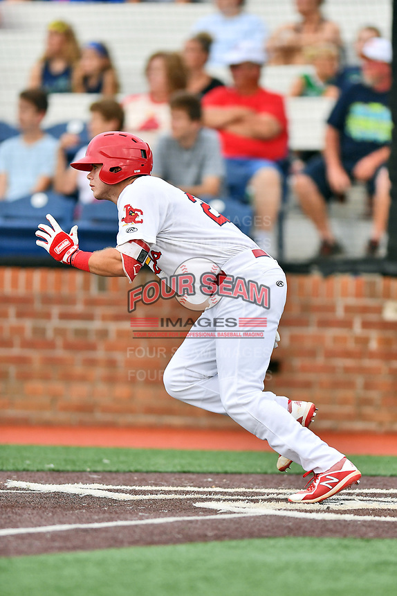 Johnson City Cardinals Mateo Gil (23) runs to first base during a game against the Kingsport Mets at TVA Credit Union Ballpark on June 28, 2019 in Johnson City, Tennessee. The Cardinals defeated the Mets 7-4. (Tony Farlow/Four Seam Images)