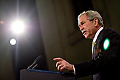 "United States President George W. Bush speaks at Federal Hall National Memorial in New York, New York, U.S., on Thursday, November 13, 2008. Bush urged leaders of the world's biggest economies not to abandon free- market capitalism as they seek an escape from the financial crisis, calling it the ""best system'' for delivering growth. <br /> Credit: Daniel Acker / Pool via CNP"