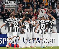 Esultanza dopo il gol di Claudio Marchisio Juventus, Goal Celebration, Torino 10-4-2014, Juventus Stadium, Football Calcio 2013/2014 Europe League, Juventus - Lione / Juventus - Lyon, Foto Marco Bertorello/Insidefoto