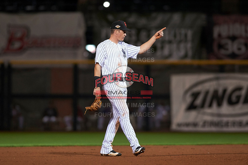 Scottsdale Scorpions shortstop Kyle Holder (43), of the New York Yankees organization, during an Arizona Fall League game against the Mesa Solar Sox on October 23, 2017 at Scottsdale Stadium in Scottsdale, Arizona. The Solar Sox defeated the Scorpions 5-2. (Zachary Lucy/Four Seam Images)