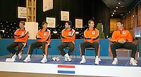 5-4-07, England, Birmingham, Tennis, Daviscup England-Netherlands, Dutch Team ltr: captain Jan Siemerink,ist singel Robin Haase, 2nd single Raemon Sluiter, Rogier Wassen and Igor Sijsling