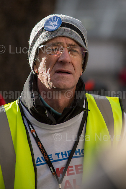 London, 28/01/2017. Today, activists, doctors, nurses and members of the public gathered outside the Houses of Parliament to march to the Department of Health in Richmond House. The demonstration, led by Hands Off Our NHS, was called to protest against the National Health Service (NHS) crisis which recently led the Red Cross to declare a humanitarian crisis in the British NHS and were forced to intervene. From the organisers Facebook event page: &lt;&lt;[&hellip;] With the imminent consultation around the government's &quot;Sustainability and Transformation Plans (STPs)&quot; NHS campaigning groups are joining forces with three main aims: 1. to raise public awareness that this is a package of &pound;22bn of underfunding to healthcare services; 2. to put pressure on local councils, our MPs, NHS England and Jeremy Hunt to restore our NHS; 3. to hold a national demonstration and rally on Saturday 28th January 2017. We have chosen this date because the delivery and implementation of these plans will take place from January to March 2017 [&hellip;]&gt;&gt;.<br /> <br /> For more information please click here: www.stopthestps.org.uk  &amp; https://www.facebook.com/events/1599650713674010/