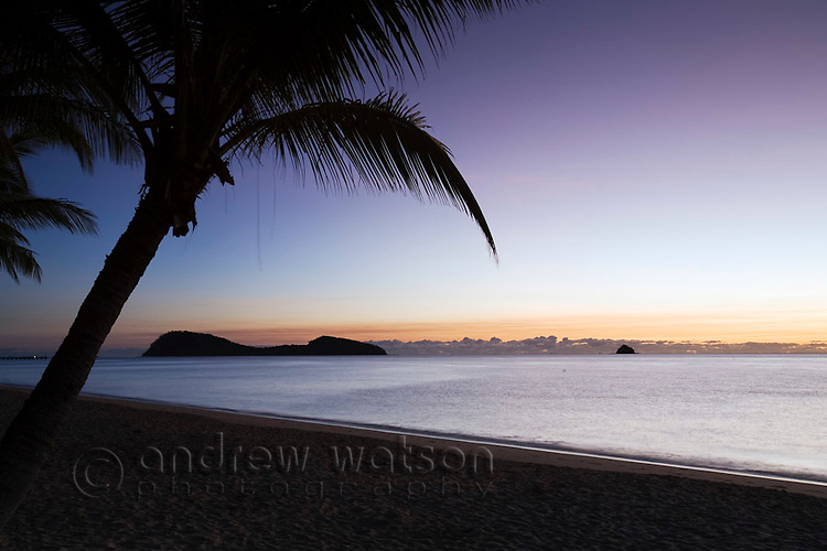 Palm Cove beach at dawn with Double Island in background.  Palm Cove, Cairns, Queensland, Australia