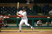 Scottsdale Scorpions first baseman Sam Travis (19) at bat during an Arizona Fall League game against the Mesa Solar Sox on October 20, 2015 at Scottsdale Stadium in Scottsdale, Arizona.  Mesa defeated Scottsdale 5-4.  (Mike Janes/Four Seam Images)