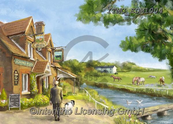 Marcello, LANDSCAPES, LANDSCHAFTEN, PAISAJES, paintings+++++,ITMCEDM1004,#l#, EVERYDAY,pub,countryside