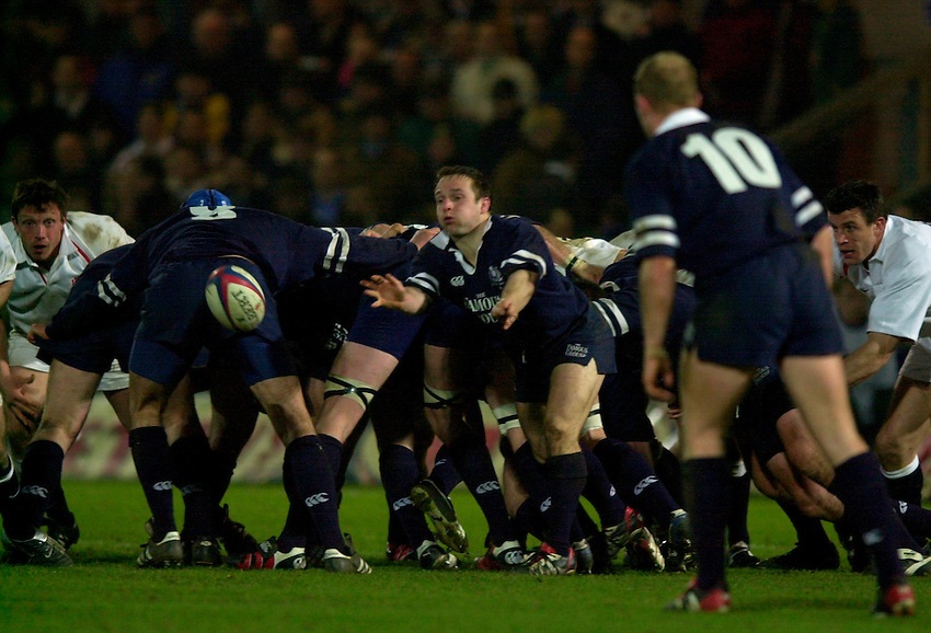 Photo. Richard Lane.England A v Scotland A at Franklins Gardens, Northampton. 20/03/2003.Graeme Beveridge gets the ball away.