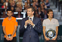 Rotterdam, The Netherlands. 16.02.2014. Tomas Berdych(TSJ) defeats Marin Cilic(KRO) and wins the  ABN AMRO World tennis Tournament of 2014,tournament director Richard Krajicek thans the crowd<br /> Photo:Tennisimages/Henk Koster
