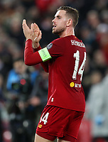 27th November 2019; Anfield, Liverpool, Merseyside, England; UEFA Champions League Football, Liverpool versus SSC Napoli ; Jordan Henderson of Liverpool acknowledges supporters on the Kop after the final whistle - Editorial Use