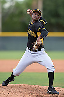 Pittsburgh Pirates pitcher Mister Luciano (98) during minor league spring training on March 23, 2015 at Pirate City in Bradenton, Florida.  (Mike Janes/Four Seam Images)