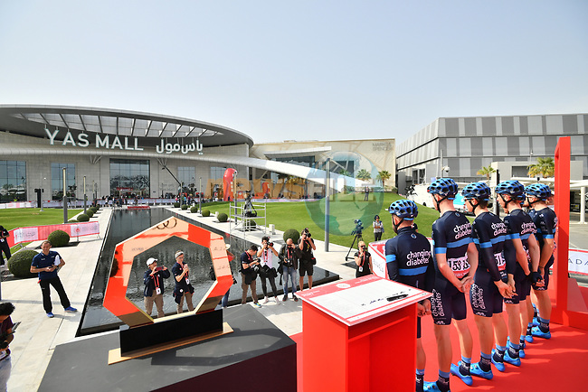 Team Novo Nordisk at sign on before the start of Stage 2 of the 2019 UAE Tour, running 184km form Yas Island Yas Mall to Abu Dhabi Breakwater Big Flag, Abu Dhabi, United Arab Emirates. 25th February 2019.<br /> Picture: LaPresse/Massimo Paolone | Cyclefile<br /> <br /> <br /> All photos usage must carry mandatory copyright credit (© Cyclefile | LaPresse/Massimo Paolone)