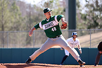 CARY, NC - FEBRUARY 23: McCae Allen #48 of Wagner College throws a pitch during a game between Wagner and Penn State at Coleman Field at USA Baseball National Training Complex on February 23, 2020 in Cary, North Carolina.