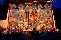 Painted Thanka. Buddist monks at Paro Dzong. Paro, Bhutan.