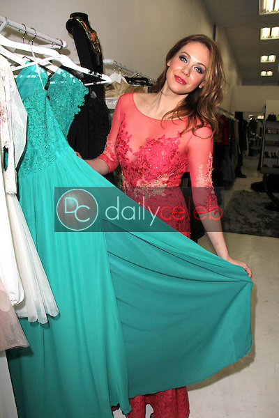 Maitland Ward<br /> tries out New Years Eve dresses at Creativ PR Shop, with the help of designer Adolfo Sanchez, Creative PR Shop, Los Angeles, CA 12-30-14
