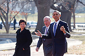 United States President Barack Obama, right, walks across Lafayette Park with William Daley, White House chief of staff, and Valerie Jarrett, senior adviser to Obama, to the U.S. Chamber of Commerce in Washington, D.C., U.S., on Monday, February 7, 2011. Obama said various loopholes and carve-outs distort economic decisions. He drew attention to the way that the deduction for interest encourages companies to borrow rather than invest with equity. .Credit: Andrew Harrer / Pool via CNP