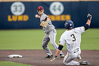 Central Michigan Chippewas shortstop Alex Borglin (6) turns a double play as Michigan Wolverines baserunner Miles Lewis (3) slides into second base on May 9, 2017 at Ray Fisher Stadium in Ann Arbor, Michigan. Michigan defeated Central Michigan 4-2. (Andrew Woolley/Four Seam Images)