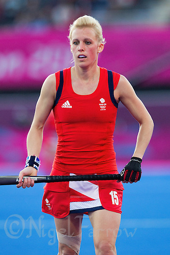 02 AUG 2012 - LONDON, GBR - Alex Danson (GBR) of Great Britain watches play during the London 2012 Olympic Games preliminary round hockey match against Belgium at the Riverbank Arena in the Olympic Park at Stratford, Great Britain .(PHOTO (C) 2012 NIGEL FARROW)