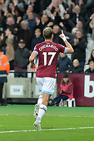 Javier Hernandez Of West Ham United scores the first Goal and celebrates during West Ham United vs Burnley, Premier League Football at The London Stadium on 3rd November 2018