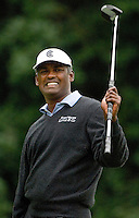 Vijay Singh reacts to missing a putt during the 2007 Wachovia Championships at Quail Hollow Country Club in Charlotte, NC.
