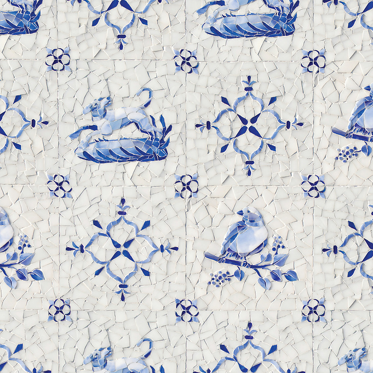 Delft, a hand-cut cut jewel glass mosaic shown in  Opal Sea Glass™ with jewel glass Lapis Lazuli, Iolite, and Covelite.