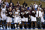20 March 2015: MSU players on the bench cheer for their teammates. The Mississippi State University Bulldogs played the Tulane University Green Wave at Cameron Indoor Stadium in Durham, North Carolina in a 2014-15 NCAA Division I Women's Basketball Tournament first round game.