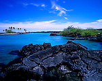 Lava Rocks and turquoise lagoon.Kiholo Bay, Kailua-Kona, Big Island, Hawaii