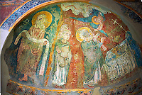 Romanesque frescoes of Apse of St. Steven of Andorra (Sant Esteve) from the church of Sant Esteve d'Andorra, painted around 1200-1210,  Andorra la Vella. National Art Museum of Catalonia, Barcelona. MNAC 35711