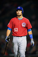 Toronto Blue Jays catcher Luke Maile (52), on rehab assignment with the Buffalo Bisons, walks back to the dugout after being called out on strikes during a game against the Rochester Red Wings on August 25, 2017 at Frontier Field in Rochester, New York.  Buffalo defeated Rochester 2-1 in eleven innings.  (Mike Janes/Four Seam Images)