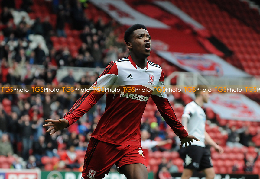 Nathaniel Chalobah of Middlesbrough celebrates scoring the opening goal of the game - Middlesbrough vs Derby County - Sky Bet Championship Football at the Riverside Stadium, Middlesbrough - 05/04/14 - MANDATORY CREDIT: Steven White/TGSPHOTO - Self billing applies where appropriate - 0845 094 6026 - contact@tgsphoto.co.uk - NO UNPAID USE