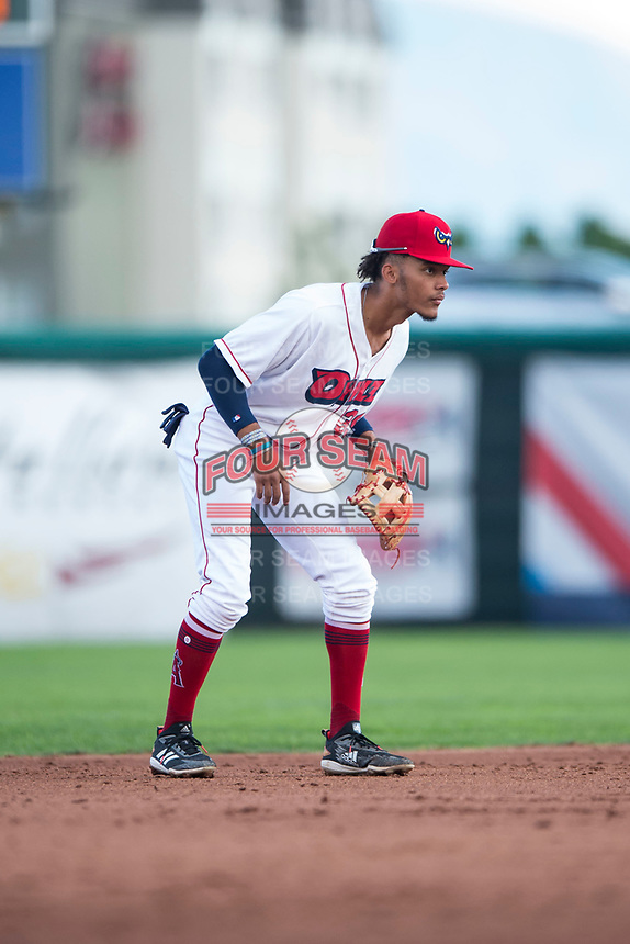 Orem Owlz shortstop Jeremiah Jackson (39) during a Pioneer League game against the Ogden Raptors at Home of the OWLZ on August 24, 2018 in Orem, Utah. The Ogden Raptors defeated the Orem Owlz by a score of 13-5. (Zachary Lucy/Four Seam Images)