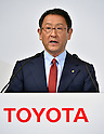 May 13, 2015, Tokyo, Japan - President Akio Toyoda of Toyota Motor Corp., speaks during a news conference at a Tokyo hotel on Wednesday, May 13, 20-15. Japans two automakers, Toyot and Mazda, announced long-term partnership in technology in which Toyota will provide its fuel cell and plug-in hybrid technology in return for Mazda's proprietary Skyactive green technology. (Photo by Natsuki Sakai/AFLO)