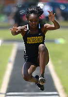 NWA Democrat-Gazette/ANDY SHUPE<br /> Jescina Droughn of Jonesboro leaps Wednesday, May 15, 2019, while competing in the long jump portion of the state heptathlon championship at Ramay Junior High School. Visit nwadg.com/photos to see more photographs from the meet.