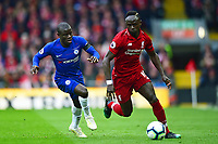 Liverpool's Sadio Mane competes with Chelsea's Ngolo Kante<br /> <br /> Photographer Richard Martin-Roberts/CameraSport<br /> <br /> The Premier League - Liverpool v Chelsea - Sunday 14th April 2019 - Anfield - Liverpool<br /> <br /> World Copyright © 2019 CameraSport. All rights reserved. 43 Linden Ave. Countesthorpe. Leicester. England. LE8 5PG - Tel: +44 (0) 116 277 4147 - admin@camerasport.com - www.camerasport.com