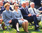 From left to right: Joan Mondale, first lady Hillary Rodham Clinton, Speaker of the United States House of Representatives Tom Foley (Democrat of Washington) and U.S. Senator Claiborne Pell (Democrat of Rhode Island) look on as U.S. President Bill Clinton names former U.S. Vice President Walter Mondale as the U.S. Ambassador to Japan in the Rose Garden of the White House in Washington, D.C. on June 11, 1993. <br /> Mrs. Mondale passed away on February 3, 2014.<br /> Credit: Howard L. Sachs / CNP