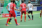 The Hague, Netherlands, June 15: Sebastien Dockier #9 of Belgium scores a field goal (4-2) during the field hockey placement match (Men - Place 5th/6th) between Belgium and Germany on June 15, 2014 during the World Cup 2014 at Kyocera Stadium in The Hague, Netherlands. Final score 4-2 (1-1)  (Photo by Dirk Markgraf / www.265-images.com) *** Local caption *** Nicolas Jacobi #1 of Germany, Sebastien Dockier #9 of Belgium, Benjamin Weiss #15 of Germany