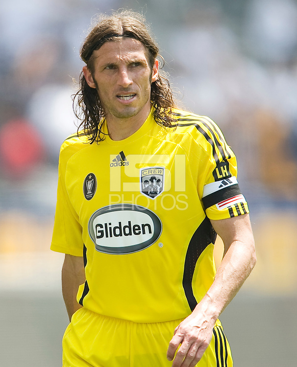 Columbus Crews Frankie Hejduk defends. The Columbus Crew and the LA Galaxy played to a 1-1 tie at Home Depot Center stadium in Carson, California on Sunday May 17, 2009.   .