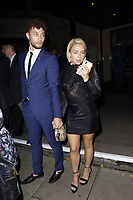 LONDON, ENGLAND - OCTOBER 08 :  Myles Stephenson and Gabby Allen leave the 'Legends Of Football' themed evening, at Grosvenor House Hotel on October 08, 2018 in London, England.<br /> CAP/AH<br /> &copy;AH/Capital Pictures
