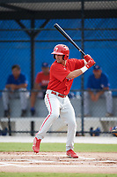 Philadelphia Phillies Josh Stephen (2) at bat during an Instructional League game against the Toronto Blue Jays on October 7, 2017 at the Englebert Complex in Dunedin, Florida.  (Mike Janes/Four Seam Images)