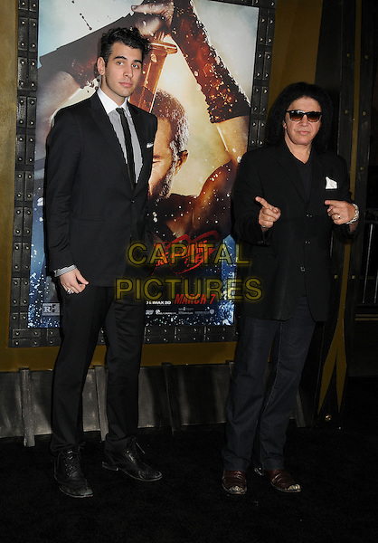 4 March 2014 - Hollywood, California - Nick Simmons, Gene Simmons. &quot;300: Rise of an Empire&quot; Los Angeles Premiere held at the TCL Chinese Theatre. <br /> CAP/ADM/BP<br /> &copy;Byron Purvis/AdMedia/Capital Pictures