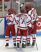 Clayton Keller (BU - 19), Charlie McAvoy (BU - 7), Jordan Greenway (BU - 18) - The visiting Merrimack College Warriors defeated the Boston University Terriers 4-1 to complete a regular season sweep on Friday, January 27, 2017, at Agganis Arena in Boston, Massachusetts.The visiting Merrimack College Warriors defeated the Boston University Terriers 4-1 to complete a regular season sweep on Friday, January 27, 2017, at Agganis Arena in Boston, Massachusetts.