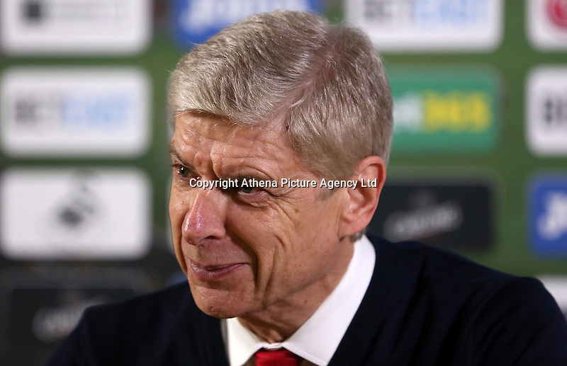 Arsenal Manager Arsène Wenger during the post match press conference after the Premier League match between Swansea City and Arsenal at The Liberty Stadium, Swansea, Wales, UK. Saturday 14 January 2017