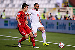 Seyed Saman Ghoddoos of Iran (R) fights for the ball with Do Duy Manh of Vietnam (L) during the AFC Asian Cup UAE 2019 Group D match between Vietnam (VIE) and I.R. Iran (IRN) at Al Nahyan Stadium on 12 January 2019 in Abu Dhabi, United Arab Emirates. Photo by Marcio Rodrigo Machado / Power Sport Images