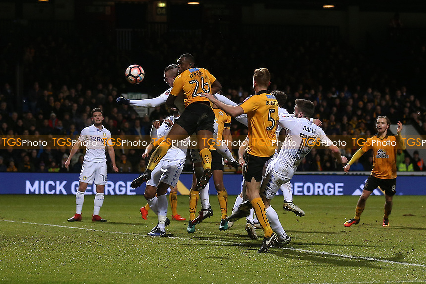 Uche Ikpeazu of Cambridge United heads just wide of goal during Cambridge United vs Leeds United, Emirates FA Cup Football at the Cambs Glass Stadium on 9th January 2017