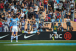 06/09/2018. Malvinas Argentinas Stadium, Mendoza, Argentina. The Rugby Championship 2018, Round 2, Los Pumas beat the Spingboks at home 32 to 19. Nicolas Sanchez landing into Springboks ingoal during first half, at the same instant Emiliano Boffelli (15) celebrates. /Maximiliano Aceiton/Trysportimages