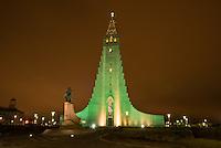 Hallgrims Church (Hallgrimskirkja) in Reykjavik. The church is the highest church in Island. In front of the church is a monument of the islandic America discoverer Leif Eriksson (Leifur Eiriksson).<br /> Hallgrims-Kirche (Hallgrimskirkja) in Reykjavik. Die Kirche ist das groesste Kirchengebaeude Islands.<br /> Vor der Kirche steht ein Denkmal des islaendischen Amerika-Entdeckers Leif Eriksson (Leifur Eiriksson).<br /> 17.3.2016, Reykjavik<br /> Copyright: Christian-Ditsch.de<br /> [Inhaltsveraendernde Manipulation des Fotos nur nach ausdruecklicher Genehmigung des Fotografen. Vereinbarungen ueber Abtretung von Persoenlichkeitsrechten/Model Release der abgebildeten Person/Personen liegen nicht vor. NO MODEL RELEASE! Nur fuer Redaktionelle Zwecke. Don't publish without copyright Christian-Ditsch.de, Veroeffentlichung nur mit Fotografennennung, sowie gegen Honorar, MwSt. und Beleg. Konto: I N G - D i B a, IBAN DE58500105175400192269, BIC INGDDEFFXXX, Kontakt: post@christian-ditsch.de<br /> Bei der Bearbeitung der Dateiinformationen darf die Urheberkennzeichnung in den EXIF- und  IPTC-Daten nicht entfernt werden, diese sind in digitalen Medien nach &sect;95c UrhG rechtlich geschuetzt. Der Urhebervermerk wird gemaess &sect;13 UrhG verlangt.]