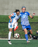 Boston, MA - Saturday August 19, 2017: Marta Vieira Da Silva, Amanda Frisbie during a regular season National Women's Soccer League (NWSL) match between the Boston Breakers (blue) and the Orlando Pride (white/light blue) at Jordan Field. Orlando Pride defeated Boston Breakers, 2-1.