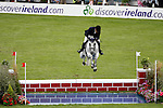 August 09, 2009: Svante Johansson (SWE) aboard Caramell Ks competing in the Grand Prix event. Longines International Grand Prix. Failte Ireland Horse Show. The RDS, Dublin, Ireland.