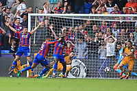 Crystal Palace players appeal for the ball crossing the line before James Tomkins of Crystal Palace scores the second during Crystal Palace vs Brighton & Hove Albion, Premier League Football at Selhurst Park on 14th April 2018