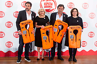 Javier Bardem, Madrid Mayor Manuela Carmena, director of Open Arms, Oscar Camps and Barcelona Mayor Ada Colau attends to solidary encounter to raise funds for Open Arms Foundation in Madrid, Spain. May 31, 2018. (ALTERPHOTOS/Borja B.Hojas) NortePhoto.com