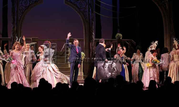 Victoria Clark, Santino Fontana, Laura Osnes, Director Mark Brokaw, Douglas Carter Beane, Josh Rhodes, Ann Harada & Company  during The Broadway Opening Night Performance Curtain Call for  'Rogers + Hammerstein' s Cinderella' at the Broadway Theatre in New York City on 3/3/2013